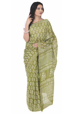 Green Dabu Hand Block Print Handcrafted Cotton Saree-Saree-Kalakari India-BAPASA0047-Cotton, Dabu, Geographical Indication, Hand Blocks, Hand Crafted, Heritage Prints, Sarees, Sustainable Fabrics-[Linen,Ethnic,wear,Fashionista,Handloom,Handicraft,Indigo,blockprint,block,print,Cotton,Chanderi,Blue, latest,classy,party,bollywood,trendy,summer,style,traditional,formal,elegant,unique,style,hand,block,print, dabu,booti,gift,present,glamorous,affordable,collectible,Sari,Saree,printed, holi, Diwali, bi