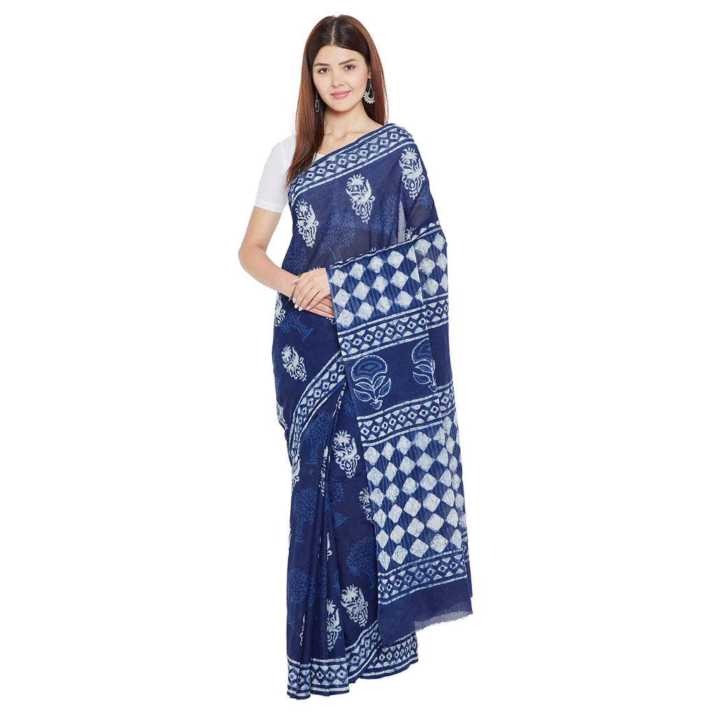 Indigo Dabu Hand Block Print Handcrafted Cotton Saree-Saree-Kalakari India-BAPASA0051-Cotton, Dabu, Geographical Indication, Hand Blocks, Hand Crafted, Heritage Prints, Indigo, Natural Dyes, Sarees, Sustainable Fabrics-[Linen,Ethnic,wear,Fashionista,Handloom,Handicraft,Indigo,blockprint,block,print,Cotton,Chanderi,Blue, latest,classy,party,bollywood,trendy,summer,style,traditional,formal,elegant,unique,style,hand,block,print, dabu,booti,gift,present,glamorous,affordable,collectible,Sari,Saree,pr