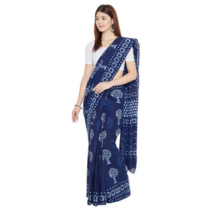 Indigo Dabu Hand Block Print Handcrafted Cotton Saree-Saree-Kalakari India-BAPASA0052-Cotton, Dabu, Geographical Indication, Hand Blocks, Hand Crafted, Heritage Prints, Indigo, Natural Dyes, Sarees, Sustainable Fabrics-[Linen,Ethnic,wear,Fashionista,Handloom,Handicraft,Indigo,blockprint,block,print,Cotton,Chanderi,Blue, latest,classy,party,bollywood,trendy,summer,style,traditional,formal,elegant,unique,style,hand,block,print, dabu,booti,gift,present,glamorous,affordable,collectible,Sari,Saree,pr