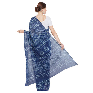 Indigo Dabu Hand Block Print Handcrafted Cotton Saree-Saree-Kalakari India-BAPASA0054-Cotton, Dabu, Geographical Indication, Hand Blocks, Hand Crafted, Heritage Prints, Indigo, Natural Dyes, Sarees, Sustainable Fabrics-[Linen,Ethnic,wear,Fashionista,Handloom,Handicraft,Indigo,blockprint,block,print,Cotton,Chanderi,Blue, latest,classy,party,bollywood,trendy,summer,style,traditional,formal,elegant,unique,style,hand,block,print, dabu,booti,gift,present,glamorous,affordable,collectible,Sari,Saree,pr