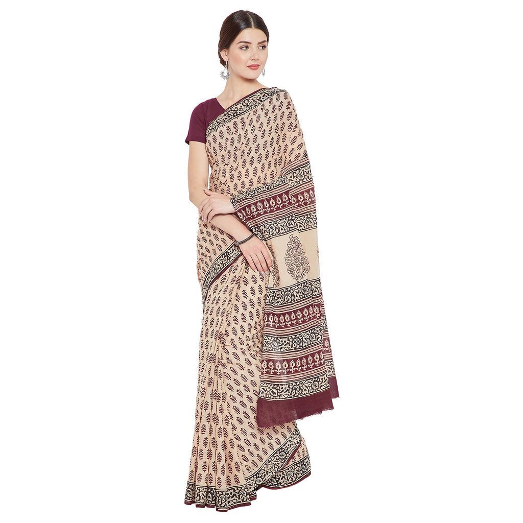 Maroon & Cream-Colored Bagh Hand Block Print Handcrafted Cotton Saree-Saree-Kalakari India-BAPASA0057-Bagh, Cotton, Geographical Indication, Hand Blocks, Hand Crafted, Heritage Prints, Sarees, Sustainable Fabrics-[Linen,Ethnic,wear,Fashionista,Handloom,Handicraft,Indigo,blockprint,block,print,Cotton,Chanderi,Blue, latest,classy,party,bollywood,trendy,summer,style,traditional,formal,elegant,unique,style,hand,block,print, dabu,booti,gift,present,glamorous,affordable,collectible,Sari,Saree,printed,