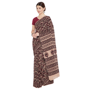 Maroon & Cream Bagh Hand Block Print Handcrafted Cotton Saree-Saree-Kalakari India-BAPASA0063-Bagh, Cotton, Geographical Indication, Hand Blocks, Hand Crafted, Heritage Prints, Sarees, Sustainable Fabrics-[Linen,Ethnic,wear,Fashionista,Handloom,Handicraft,Indigo,blockprint,block,print,Cotton,Chanderi,Blue, latest,classy,party,bollywood,trendy,summer,style,traditional,formal,elegant,unique,style,hand,block,print, dabu,booti,gift,present,glamorous,affordable,collectible,Sari,Saree,printed, holi, D