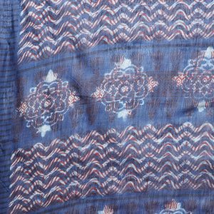 Blue & Red Indigo Hand Block Print Handcrafted Cotton Saree-Saree-Kalakari India-BAPASA0065-Cotton, Dabu, Geographical Indication, Hand Blocks, Hand Crafted, Heritage Prints, Indigo, Natural Dyes, Sarees, Sustainable Fabrics, Tarapur-[Linen,Ethnic,wear,Fashionista,Handloom,Handicraft,Indigo,blockprint,block,print,Cotton,Chanderi,Blue, latest,classy,party,bollywood,trendy,summer,style,traditional,formal,elegant,unique,style,hand,block,print, dabu,booti,gift,present,glamorous,affordable,collectibl