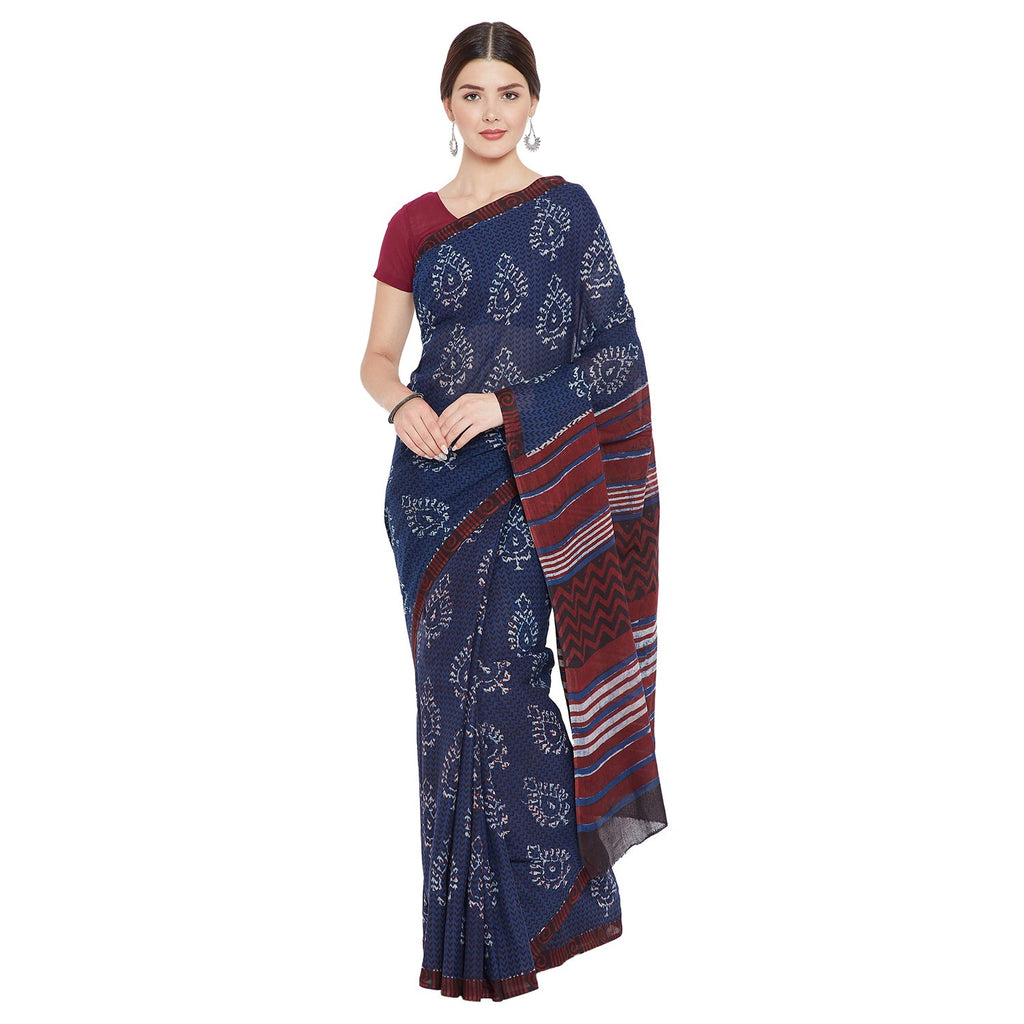 Blue & Red Indigo Hand Block Print Handcrafted Cotton Saree-Saree-Kalakari India-BAPASA0066-Cotton, Dabu, Geographical Indication, Hand Blocks, Hand Crafted, Heritage Prints, Indigo, Natural Dyes, Sarees, Sustainable Fabrics, Tarapur-[Linen,Ethnic,wear,Fashionista,Handloom,Handicraft,Indigo,blockprint,block,print,Cotton,Chanderi,Blue, latest,classy,party,bollywood,trendy,summer,style,traditional,formal,elegant,unique,style,hand,block,print, dabu,booti,gift,present,glamorous,affordable,collectibl