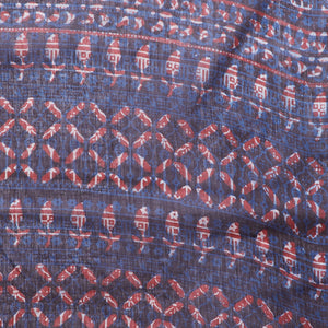 Blue & Red Indigo Hand Block Print Handcrafted Cotton Saree-Saree-Kalakari India-BAPASA0067-Cotton, Dabu, Geographical Indication, Hand Blocks, Hand Crafted, Heritage Prints, Indigo, Natural Dyes, Sarees, Sustainable Fabrics, Tarapur-[Linen,Ethnic,wear,Fashionista,Handloom,Handicraft,Indigo,blockprint,block,print,Cotton,Chanderi,Blue, latest,classy,party,bollywood,trendy,summer,style,traditional,formal,elegant,unique,style,hand,block,print, dabu,booti,gift,present,glamorous,affordable,collectibl