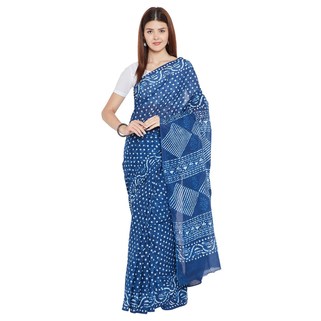 Blue & White Indigo Hand Block Print Handcrafted Cotton Saree-Saree-Kalakari India-BAPASA0071-Cotton, Dabu, Geographical Indication, Hand Blocks, Hand Crafted, Heritage Prints, Indigo, Natural Dyes, Sarees, Sustainable Fabrics-[Linen,Ethnic,wear,Fashionista,Handloom,Handicraft,Indigo,blockprint,block,print,Cotton,Chanderi,Blue, latest,classy,party,bollywood,trendy,summer,style,traditional,formal,elegant,unique,style,hand,block,print, dabu,booti,gift,present,glamorous,affordable,collectible,Sari,