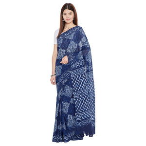 Blue & White Indigo Hand Block Print Handcrafted Cotton Saree-Saree-Kalakari India-BAPASA0077-Cotton, Dabu, Geographical Indication, Hand Blocks, Hand Crafted, Heritage Prints, Indigo, Natural Dyes, Sarees, Sustainable Fabrics-[Linen,Ethnic,wear,Fashionista,Handloom,Handicraft,Indigo,blockprint,block,print,Cotton,Chanderi,Blue, latest,classy,party,bollywood,trendy,summer,style,traditional,formal,elegant,unique,style,hand,block,print, dabu,booti,gift,present,glamorous,affordable,collectible,Sari,