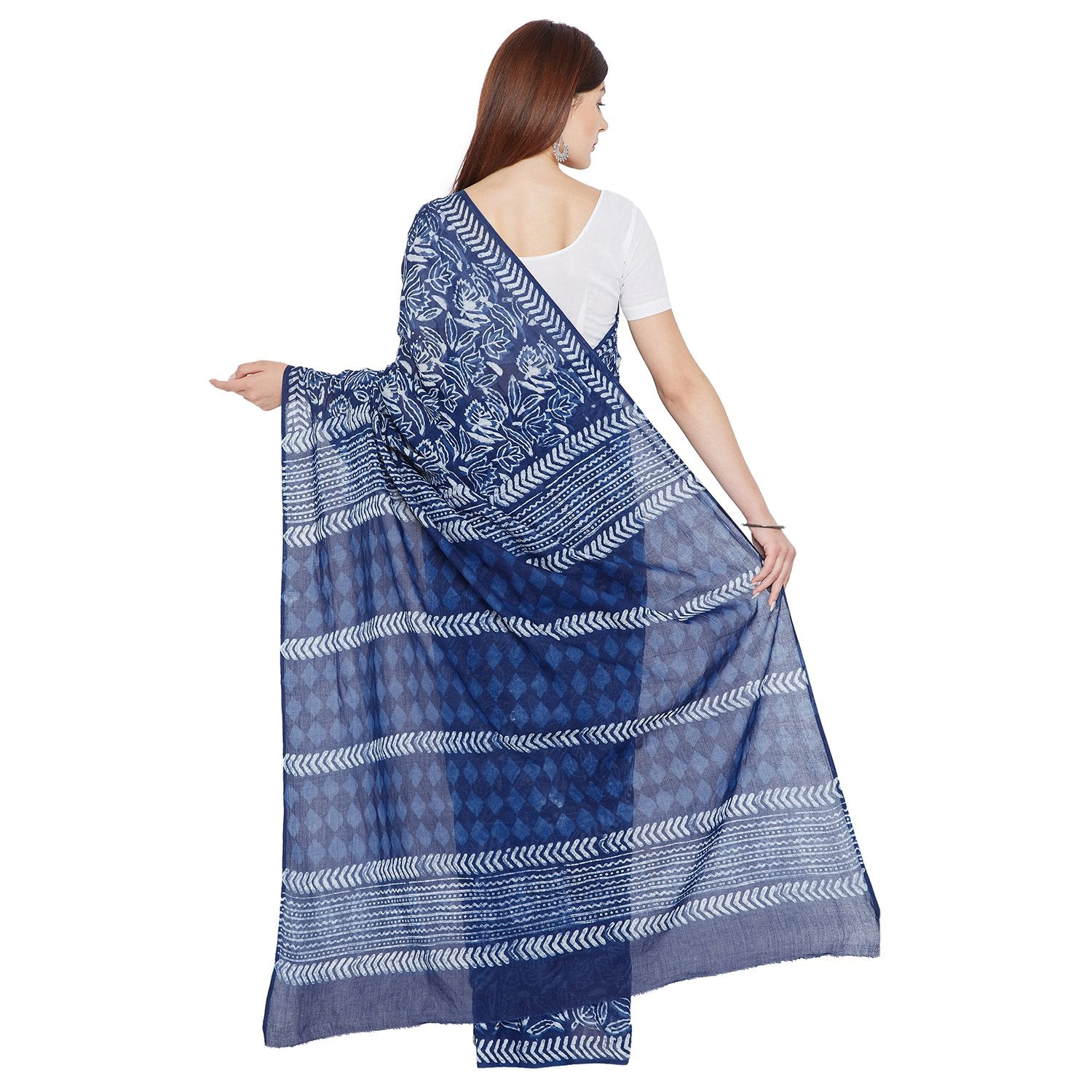 Blue & White Indigo Hand Block Print Handcrafted Cotton Saree-Saree-Kalakari India-BAPASA0078-Cotton, Dabu, Geographical Indication, Hand Blocks, Hand Crafted, Heritage Prints, Indigo, Natural Dyes, Sarees, Sustainable Fabrics-[Linen,Ethnic,wear,Fashionista,Handloom,Handicraft,Indigo,blockprint,block,print,Cotton,Chanderi,Blue, latest,classy,party,bollywood,trendy,summer,style,traditional,formal,elegant,unique,style,hand,block,print, dabu,booti,gift,present,glamorous,affordable,collectible,Sari,