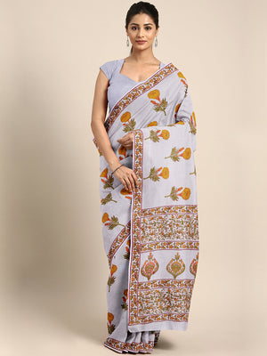 Off-White & Mustard Yellow Hand Block Print Handcrafted Cotton Saree-Saree-Kalakari India-BAPASA0085-Cotton, Dabu, Geographical Indication, Hand Blocks, Hand Crafted, Heritage Prints, Sarees, Sustainable Fabrics-[Linen,Ethnic,wear,Fashionista,Handloom,Handicraft,Indigo,blockprint,block,print,Cotton,Chanderi,Blue, latest,classy,party,bollywood,trendy,summer,style,traditional,formal,elegant,unique,style,hand,block,print, dabu,booti,gift,present,glamorous,affordable,collectible,Sari,Saree,printed,
