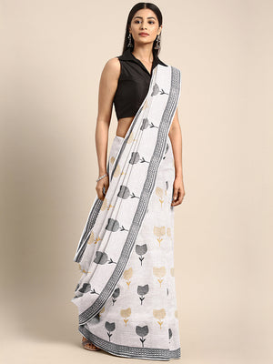 Off-White & Black Hand block Print Handcrafted Cotton Saree-Saree-Kalakari India-BAPASA0086-Cotton, Dabu, Geographical Indication, Hand Blocks, Hand Crafted, Heritage Prints, Sarees, Sustainable Fabrics-[Linen,Ethnic,wear,Fashionista,Handloom,Handicraft,Indigo,blockprint,block,print,Cotton,Chanderi,Blue, latest,classy,party,bollywood,trendy,summer,style,traditional,formal,elegant,unique,style,hand,block,print, dabu,booti,gift,present,glamorous,affordable,collectible,Sari,Saree,printed, holi, Diw