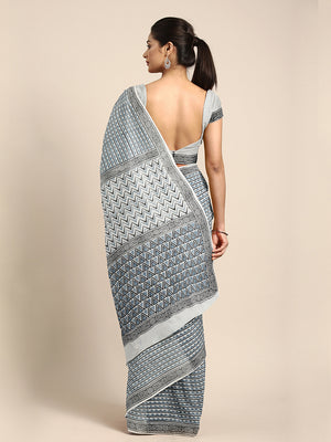 Blue & White Striped Mud Resist Hand block Print Handcrafted Cotton Saree-Saree-Kalakari India-BAPASA0087-Cotton, Dabu, Geographical Indication, Hand Blocks, Hand Crafted, Heritage Prints, Sarees, Sustainable Fabrics-[Linen,Ethnic,wear,Fashionista,Handloom,Handicraft,Indigo,blockprint,block,print,Cotton,Chanderi,Blue, latest,classy,party,bollywood,trendy,summer,style,traditional,formal,elegant,unique,style,hand,block,print, dabu,booti,gift,present,glamorous,affordable,collectible,Sari,Saree,prin