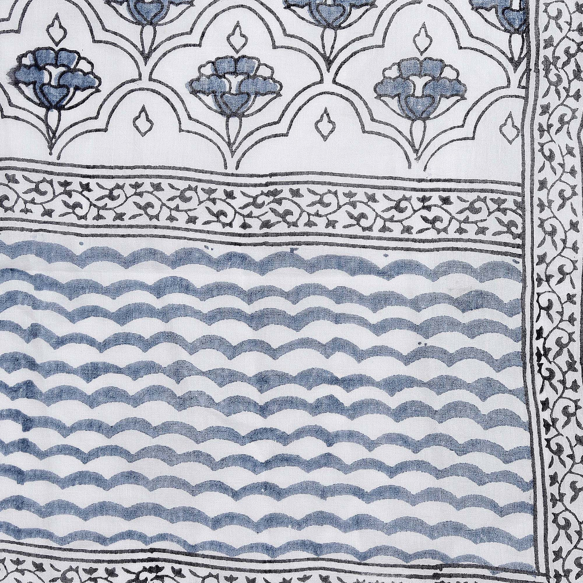 White & Blue Hand block Print Handcrafted Cotton Saree-Saree-Kalakari India-BAPASA0088-Cotton, Dabu, Geographical Indication, Hand Blocks, Hand Crafted, Heritage Prints, Sarees, Sustainable Fabrics-[Linen,Ethnic,wear,Fashionista,Handloom,Handicraft,Indigo,blockprint,block,print,Cotton,Chanderi,Blue, latest,classy,party,bollywood,trendy,summer,style,traditional,formal,elegant,unique,style,hand,block,print, dabu,booti,gift,present,glamorous,affordable,collectible,Sari,Saree,printed, holi, Diwali,
