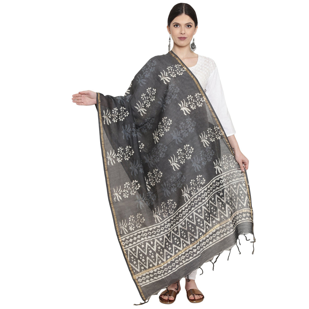 Exotic Chanderi Silk Handmade Dupatta-Dupatta-Kalakari India-BHKPDP0002-Chanderi, Dupatta, Geographical Indication, Hand Blocks, Hand Crafted, Heritage Prints, Silk, Sustainable Fabrics-[Linen,Ethnic,wear,Fashionista,Handloom,Handicraft,Indigo,blockprint,block,print,Cotton,Chanderi,Blue, latest,classy,party,bollywood,trendy,summer,style,traditional,formal,elegant,unique,style,hand,block,print, dabu,booti,gift,present,glamorous,affordable,collectible,Sari,Saree,printed, holi, Diwali, birthday, an