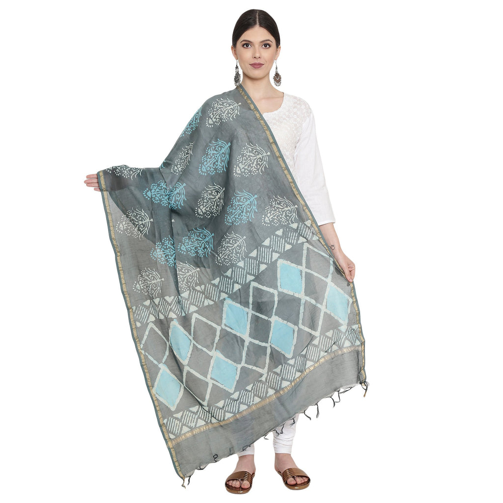 Exotic Chanderi Silk Handmade Dupatta-Dupatta-Kalakari India-BHKPDP0004-Chanderi, Dupatta, Geographical Indication, Hand Blocks, Hand Crafted, Heritage Prints, Silk, Sustainable Fabrics-[Linen,Ethnic,wear,Fashionista,Handloom,Handicraft,Indigo,blockprint,block,print,Cotton,Chanderi,Blue, latest,classy,party,bollywood,trendy,summer,style,traditional,formal,elegant,unique,style,hand,block,print, dabu,booti,gift,present,glamorous,affordable,collectible,Sari,Saree,printed, holi, Diwali, birthday, an
