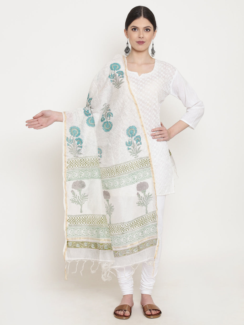 Exotic Chanderi Silk Handmade Dupatta-Dupatta-Kalakari India-BHKPDP0006-Chanderi, Dupatta, Geographical Indication, Hand Blocks, Hand Crafted, Heritage Prints, Silk, Sustainable Fabrics-[Linen,Ethnic,wear,Fashionista,Handloom,Handicraft,Indigo,blockprint,block,print,Cotton,Chanderi,Blue, latest,classy,party,bollywood,trendy,summer,style,traditional,formal,elegant,unique,style,hand,block,print, dabu,booti,gift,present,glamorous,affordable,collectible,Sari,Saree,printed, holi, Diwali, birthday, an