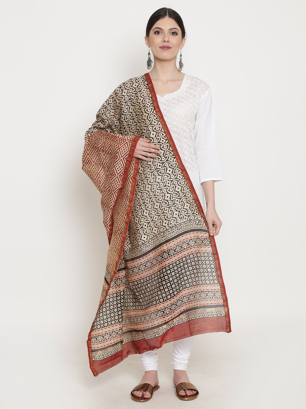 Exotic Chanderi Silk Handmade Dupatta-Dupatta-Kalakari India-BHKPDP0007-Chanderi, Dupatta, Geographical Indication, Hand Blocks, Hand Crafted, Heritage Prints, Silk, Sustainable Fabrics-[Linen,Ethnic,wear,Fashionista,Handloom,Handicraft,Indigo,blockprint,block,print,Cotton,Chanderi,Blue, latest,classy,party,bollywood,trendy,summer,style,traditional,formal,elegant,unique,style,hand,block,print, dabu,booti,gift,present,glamorous,affordable,collectible,Sari,Saree,printed, holi, Diwali, birthday, an
