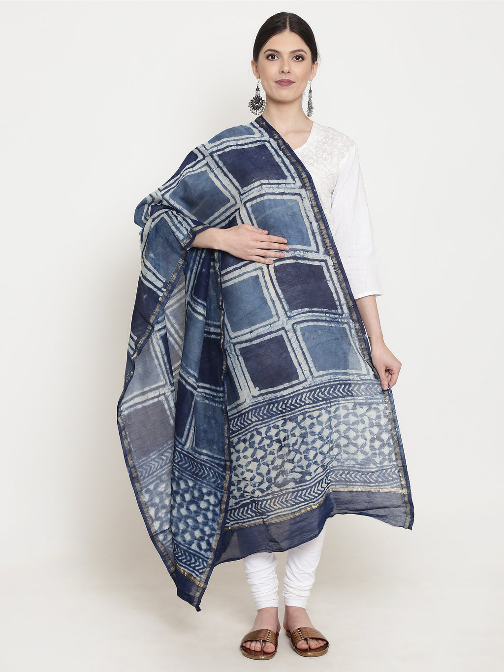 Exotic Chanderi Silk Handmade Dupatta-Dupatta-Kalakari India-BHKPDP0008-Chanderi, Dupatta, Geographical Indication, Hand Blocks, Hand Crafted, Heritage Prints, Silk, Sustainable Fabrics-[Linen,Ethnic,wear,Fashionista,Handloom,Handicraft,Indigo,blockprint,block,print,Cotton,Chanderi,Blue, latest,classy,party,bollywood,trendy,summer,style,traditional,formal,elegant,unique,style,hand,block,print, dabu,booti,gift,present,glamorous,affordable,collectible,Sari,Saree,printed, holi, Diwali, birthday, an