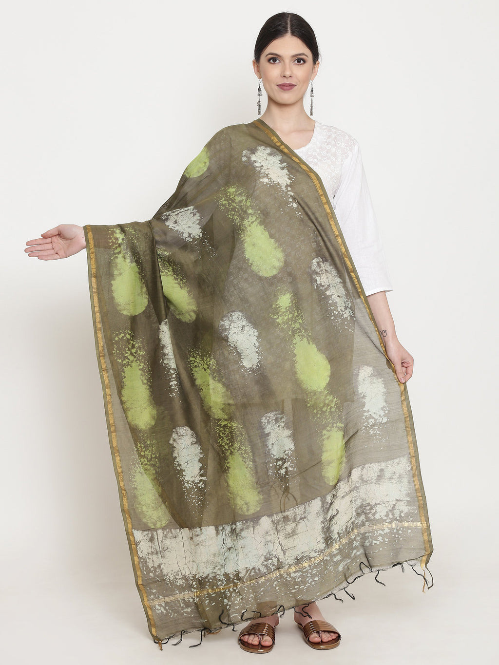 Exotic Chanderi Silk Handmade Dupatta-Dupatta-Kalakari India-BHKPDP0009-Chanderi, Dupatta, Geographical Indication, Hand Blocks, Hand Crafted, Heritage Prints, Silk, Sustainable Fabrics-[Linen,Ethnic,wear,Fashionista,Handloom,Handicraft,Indigo,blockprint,block,print,Cotton,Chanderi,Blue, latest,classy,party,bollywood,trendy,summer,style,traditional,formal,elegant,unique,style,hand,block,print, dabu,booti,gift,present,glamorous,affordable,collectible,Sari,Saree,printed, holi, Diwali, birthday, an