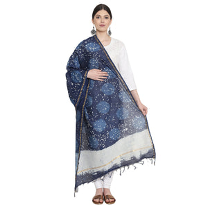 Exotic Chanderi Silk Handmade Dupatta-Dupatta-Kalakari India-BHKPDP0010-Chanderi, Dupatta, Geographical Indication, Hand Blocks, Hand Crafted, Heritage Prints, Silk, Sustainable Fabrics-[Linen,Ethnic,wear,Fashionista,Handloom,Handicraft,Indigo,blockprint,block,print,Cotton,Chanderi,Blue, latest,classy,party,bollywood,trendy,summer,style,traditional,formal,elegant,unique,style,hand,block,print, dabu,booti,gift,present,glamorous,affordable,collectible,Sari,Saree,printed, holi, Diwali, birthday, an