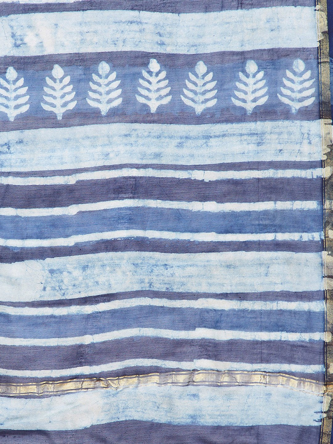 Blue & White Chanderi Silk Hand Block Print Handcrafted Saree-Saree-Kalakari India-BHKPSA0001-Chanderi, Dabu, Geographical Indication, Hand Blocks, Hand Crafted, Heritage Prints, Indigo, Natural Dyes, Sarees, Sustainable Fabrics-[Linen,Ethnic,wear,Fashionista,Handloom,Handicraft,Indigo,blockprint,block,print,Cotton,Chanderi,Blue, latest,classy,party,bollywood,trendy,summer,style,traditional,formal,elegant,unique,style,hand,block,print, dabu,booti,gift,present,glamorous,affordable,collectible,Sar