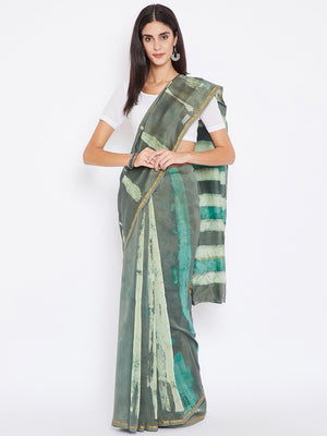 Teal & White Chanderi Silk Cotton Hand Block Print Handcrafted Saree-Saree-Kalakari India-BHKPSA0002-Chanderi, Dabu, Geographical Indication, Hand Blocks, Hand Crafted, Heritage Prints, Natural Dyes, Sarees, Sustainable Fabrics-[Linen,Ethnic,wear,Fashionista,Handloom,Handicraft,Indigo,blockprint,block,print,Cotton,Chanderi,Blue, latest,classy,party,bollywood,trendy,summer,style,traditional,formal,elegant,unique,style,hand,block,print, dabu,booti,gift,present,glamorous,affordable,collectible,Sari
