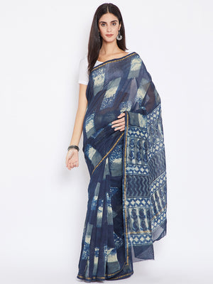 Blue & White Chanderi Silk Cotton Hand Block Print Handcrafted Saree-Saree-Kalakari India-BHKPSA0003-Chanderi, Dabu, Geographical Indication, Hand Blocks, Hand Crafted, Heritage Prints, Indigo, Natural Dyes, Sarees, Sustainable Fabrics-[Linen,Ethnic,wear,Fashionista,Handloom,Handicraft,Indigo,blockprint,block,print,Cotton,Chanderi,Blue, latest,classy,party,bollywood,trendy,summer,style,traditional,formal,elegant,unique,style,hand,block,print, dabu,booti,gift,present,glamorous,affordable,collecti