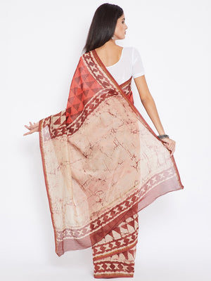 Red & Orange Chanderi Silk Cotton Hand Block Print Handcrafted Saree-Saree-Kalakari India-BHKPSA0005-Chanderi, Dabu, Geographical Indication, Hand Blocks, Hand Crafted, Heritage Prints, Natural Dyes, Sarees, Sustainable Fabrics-[Linen,Ethnic,wear,Fashionista,Handloom,Handicraft,Indigo,blockprint,block,print,Cotton,Chanderi,Blue, latest,classy,party,bollywood,trendy,summer,style,traditional,formal,elegant,unique,style,hand,block,print, dabu,booti,gift,present,glamorous,affordable,collectible,Sari
