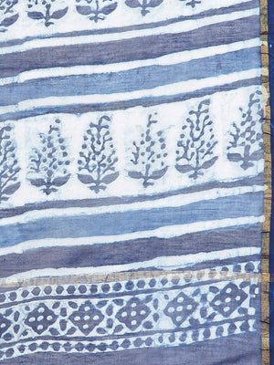 Blue & White Chanderi Silk Cotton Hand Block Print Handcrafted Saree-Saree-Kalakari India-BHKPSA0006-Chanderi, Dabu, Geographical Indication, Hand Blocks, Hand Crafted, Heritage Prints, Indigo, Natural Dyes, Sarees, Sustainable Fabrics-[Linen,Ethnic,wear,Fashionista,Handloom,Handicraft,Indigo,blockprint,block,print,Cotton,Chanderi,Blue, latest,classy,party,bollywood,trendy,summer,style,traditional,formal,elegant,unique,style,hand,block,print, dabu,booti,gift,present,glamorous,affordable,collecti