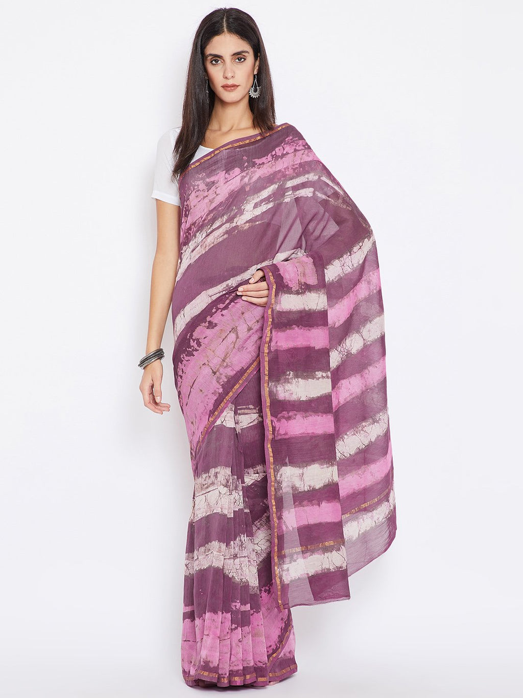 Kalakari India Magenta & Off-White Chanderi Silk Cotton Hand Block Print Handcrafted Saree-Saree-Kalakari India-BHKPSA0009-Chanderi, Dabu, Geographical Indication, Hand Blocks, Hand Crafted, Heritage Prints, Natural Dyes, Sarees, Sustainable Fabrics-[Linen,Ethnic,wear,Fashionista,Handloom,Handicraft,Indigo,blockprint,block,print,Cotton,Chanderi,Blue, latest,classy,party,bollywood,trendy,summer,style,traditional,formal,elegant,unique,style,hand,block,print, dabu,booti,gift,present,glamorous,affor