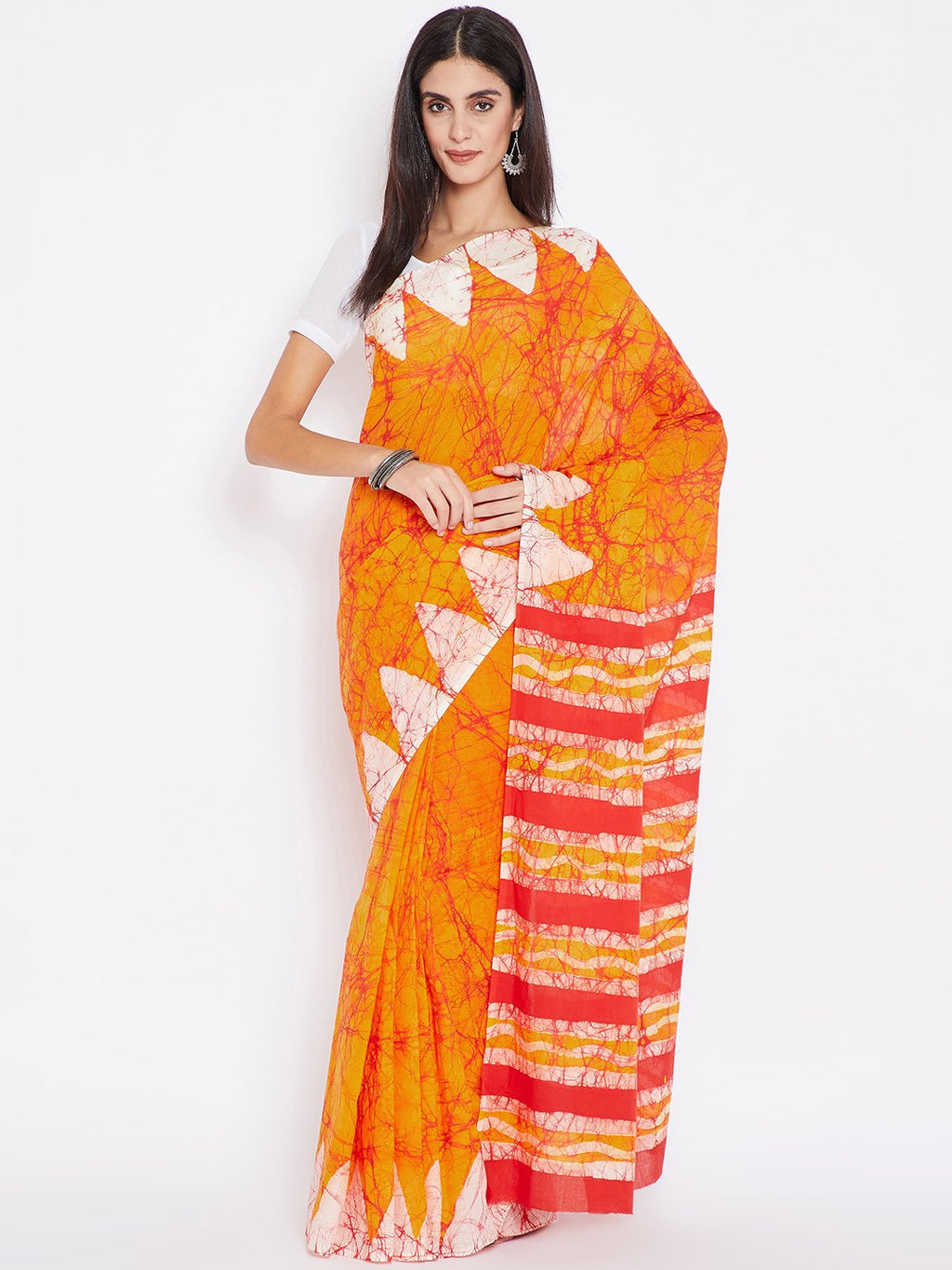 Red & Orange Batik Dyed Handcrafted Cotton Saree-Saree-Kalakari India-BHKPSA0011-Batik, Cotton, Geographical Indication, Hand Blocks, Hand Crafted, Heritage Prints, Sarees, Sustainable Fabrics-[Linen,Ethnic,wear,Fashionista,Handloom,Handicraft,Indigo,blockprint,block,print,Cotton,Chanderi,Blue, latest,classy,party,bollywood,trendy,summer,style,traditional,formal,elegant,unique,style,hand,block,print, dabu,booti,gift,present,glamorous,affordable,collectible,Sari,Saree,printed, holi, Diwali, birth