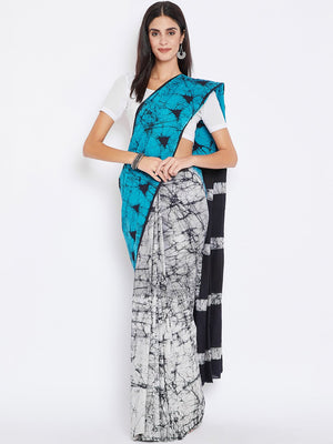 Blue & White Batik Dyed Handcrafted Cotton Saree-Saree-Kalakari India-BHKPSA0012-Batik, Cotton, Geographical Indication, Hand Blocks, Hand Crafted, Heritage Prints, Sarees, Sustainable Fabrics-[Linen,Ethnic,wear,Fashionista,Handloom,Handicraft,Indigo,blockprint,block,print,Cotton,Chanderi,Blue, latest,classy,party,bollywood,trendy,summer,style,traditional,formal,elegant,unique,style,hand,block,print, dabu,booti,gift,present,glamorous,affordable,collectible,Sari,Saree,printed, holi, Diwali, birth