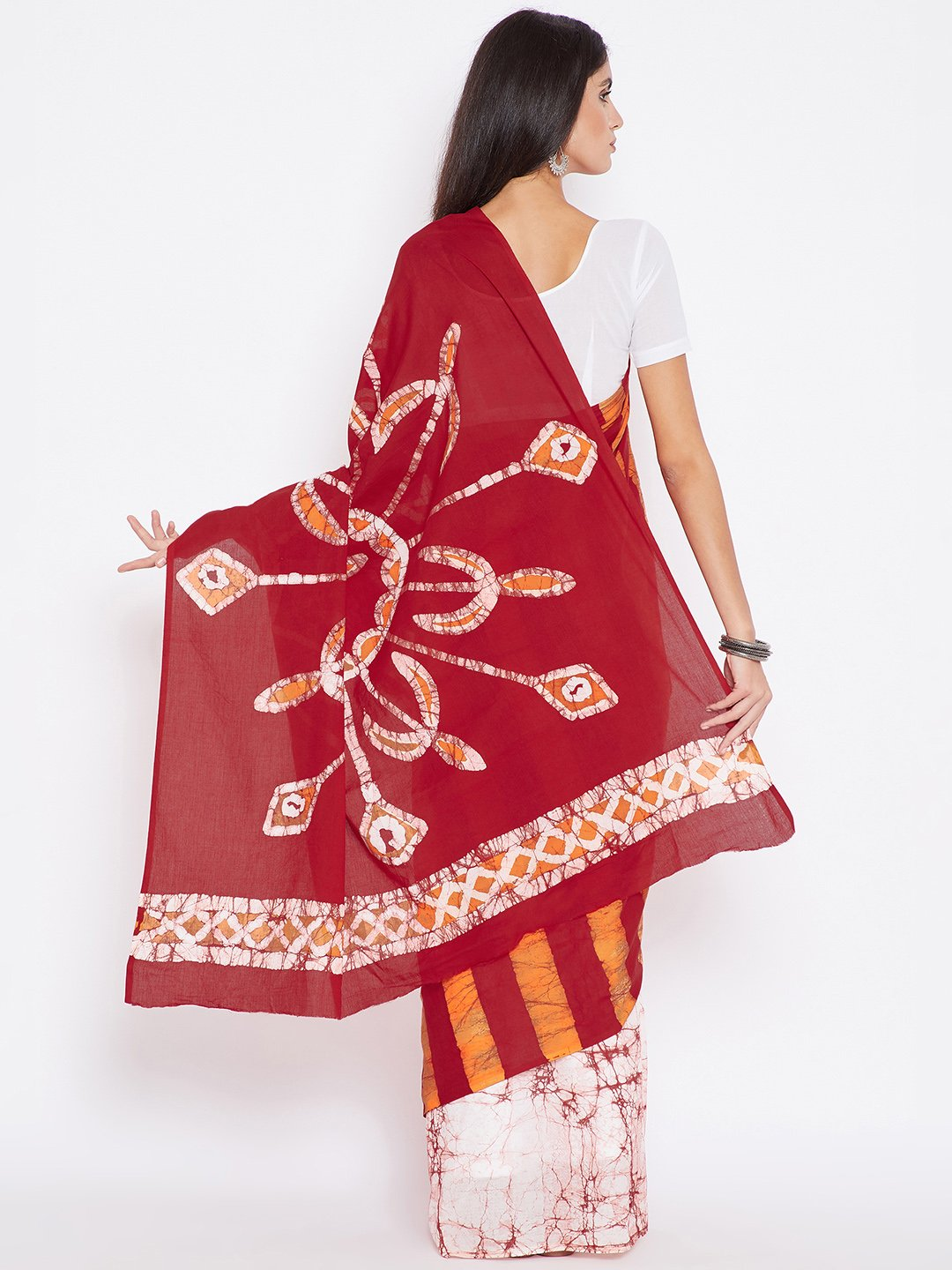 Red & Orange Batik Dyed Handcrafted Cotton Saree-Saree-Kalakari India-BHKPSA0014-Batik, Cotton, Geographical Indication, Hand Blocks, Hand Crafted, Heritage Prints, Sarees, Sustainable Fabrics-[Linen,Ethnic,wear,Fashionista,Handloom,Handicraft,Indigo,blockprint,block,print,Cotton,Chanderi,Blue, latest,classy,party,bollywood,trendy,summer,style,traditional,formal,elegant,unique,style,hand,block,print, dabu,booti,gift,present,glamorous,affordable,collectible,Sari,Saree,printed, holi, Diwali, birth