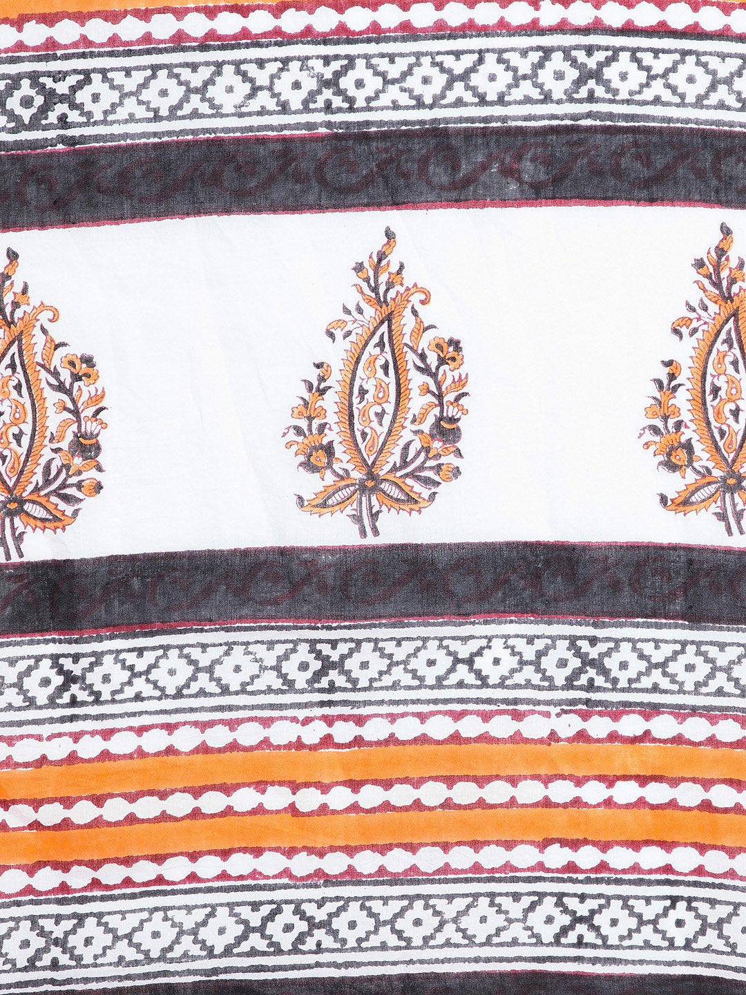 White & Orange Mughal Hand Block Print Handcrafted Cotton Saree-Saree-Kalakari India-BHKPSA0018-Cotton, Geographical Indication, Hand Blocks, Hand Crafted, Heritage Prints, Sanganeri, Sarees, Sustainable Fabrics-[Linen,Ethnic,wear,Fashionista,Handloom,Handicraft,Indigo,blockprint,block,print,Cotton,Chanderi,Blue, latest,classy,party,bollywood,trendy,summer,style,traditional,formal,elegant,unique,style,hand,block,print, dabu,booti,gift,present,glamorous,affordable,collectible,Sari,Saree,printed,
