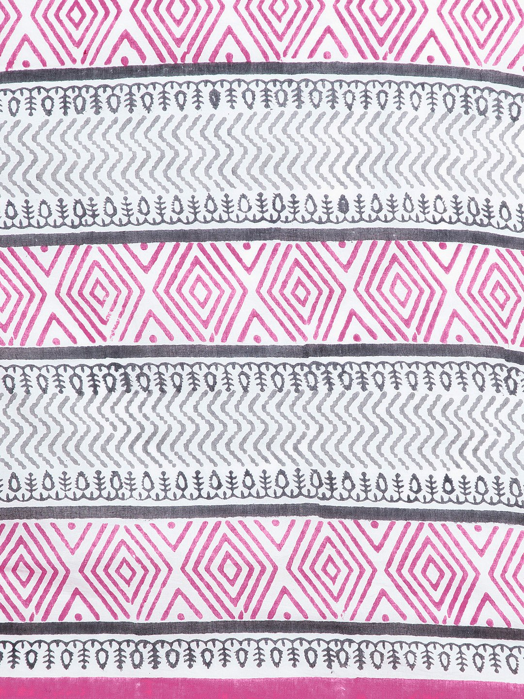 White & Pink Mughal Hand Block Print Handcrafted Cotton Saree-Saree-Kalakari India-BHKPSA0020-Cotton, Geographical Indication, Hand Blocks, Hand Crafted, Heritage Prints, Sanganeri, Sarees, Sustainable Fabrics-[Linen,Ethnic,wear,Fashionista,Handloom,Handicraft,Indigo,blockprint,block,print,Cotton,Chanderi,Blue, latest,classy,party,bollywood,trendy,summer,style,traditional,formal,elegant,unique,style,hand,block,print, dabu,booti,gift,present,glamorous,affordable,collectible,Sari,Saree,printed, ho
