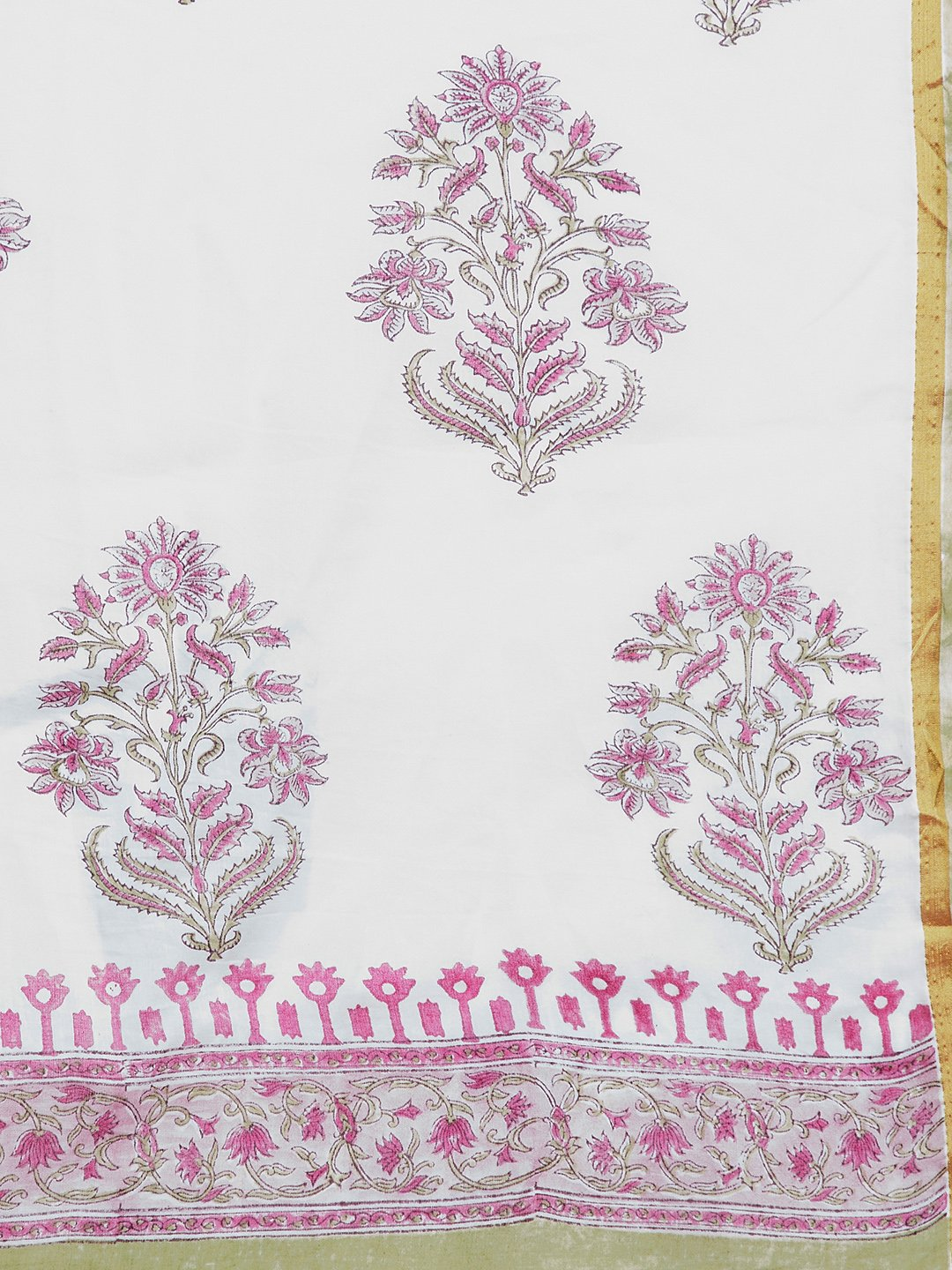 White & Pink Mughal Hand Block Print Handcrafted Cotton Saree-Saree-Kalakari India-BHKPSA0022-Cotton, Geographical Indication, Hand Blocks, Hand Crafted, Heritage Prints, Sanganeri, Sarees, Sustainable Fabrics-[Linen,Ethnic,wear,Fashionista,Handloom,Handicraft,Indigo,blockprint,block,print,Cotton,Chanderi,Blue, latest,classy,party,bollywood,trendy,summer,style,traditional,formal,elegant,unique,style,hand,block,print, dabu,booti,gift,present,glamorous,affordable,collectible,Sari,Saree,printed, ho