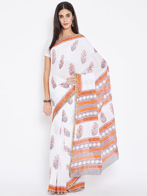 White & Orange Mughal Hand Block Print Handcrafted Cotton Saree-Saree-Kalakari India-BHKPSA0024-Cotton, Geographical Indication, Hand Blocks, Hand Crafted, Heritage Prints, Sanganeri, Sarees, Sustainable Fabrics-[Linen,Ethnic,wear,Fashionista,Handloom,Handicraft,Indigo,blockprint,block,print,Cotton,Chanderi,Blue, latest,classy,party,bollywood,trendy,summer,style,traditional,formal,elegant,unique,style,hand,block,print, dabu,booti,gift,present,glamorous,affordable,collectible,Sari,Saree,printed,