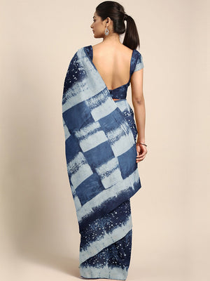 Indigo Dyed Mud Resist Handblock Print Handcrafted Cotton Saree-Saree-Kalakari India-BHKPSA0027-Cotton, Dabu, Geographical Indication, Hand Blocks, Hand Crafted, Heritage Prints, Indigo, Natural Dyes, Sarees, Sustainable Fabrics-[Linen,Ethnic,wear,Fashionista,Handloom,Handicraft,Indigo,blockprint,block,print,Cotton,Chanderi,Blue, latest,classy,party,bollywood,trendy,summer,style,traditional,formal,elegant,unique,style,hand,block,print, dabu,booti,gift,present,glamorous,affordable,collectible,Sar