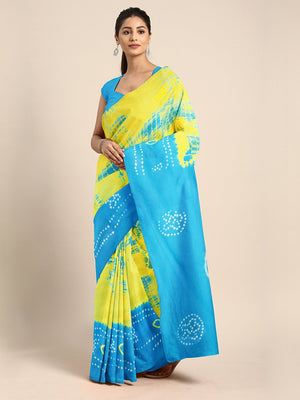 Yellow & Blue Shibori Tie & Dyed Handcrafted Cotton Saree-Saree-Kalakari India-BHKPSA0030-Cotton, Geographical Indication, Hand Blocks, Hand Crafted, Heritage Prints, Sarees, Shibori, Sustainable Fabrics-[Linen,Ethnic,wear,Fashionista,Handloom,Handicraft,Indigo,blockprint,block,print,Cotton,Chanderi,Blue, latest,classy,party,bollywood,trendy,summer,style,traditional,formal,elegant,unique,style,hand,block,print, dabu,booti,gift,present,glamorous,affordable,collectible,Sari,Saree,printed, holi, Di