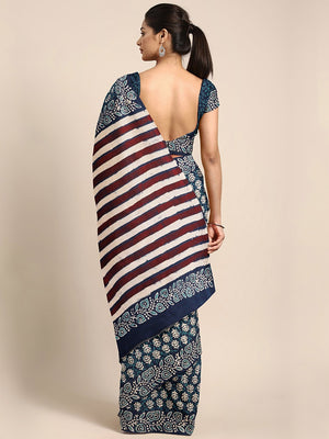 Navy Blue & Off-White Mud Resist Handblock Print Handcrafted Cotton Saree-Saree-Kalakari India-BHKPSA0032-Cotton, Dabu, Geographical Indication, Hand Blocks, Hand Crafted, Heritage Prints, Indigo, Natural Dyes, Sarees, Sustainable Fabrics-[Linen,Ethnic,wear,Fashionista,Handloom,Handicraft,Indigo,blockprint,block,print,Cotton,Chanderi,Blue, latest,classy,party,bollywood,trendy,summer,style,traditional,formal,elegant,unique,style,hand,block,print, dabu,booti,gift,present,glamorous,affordable,colle