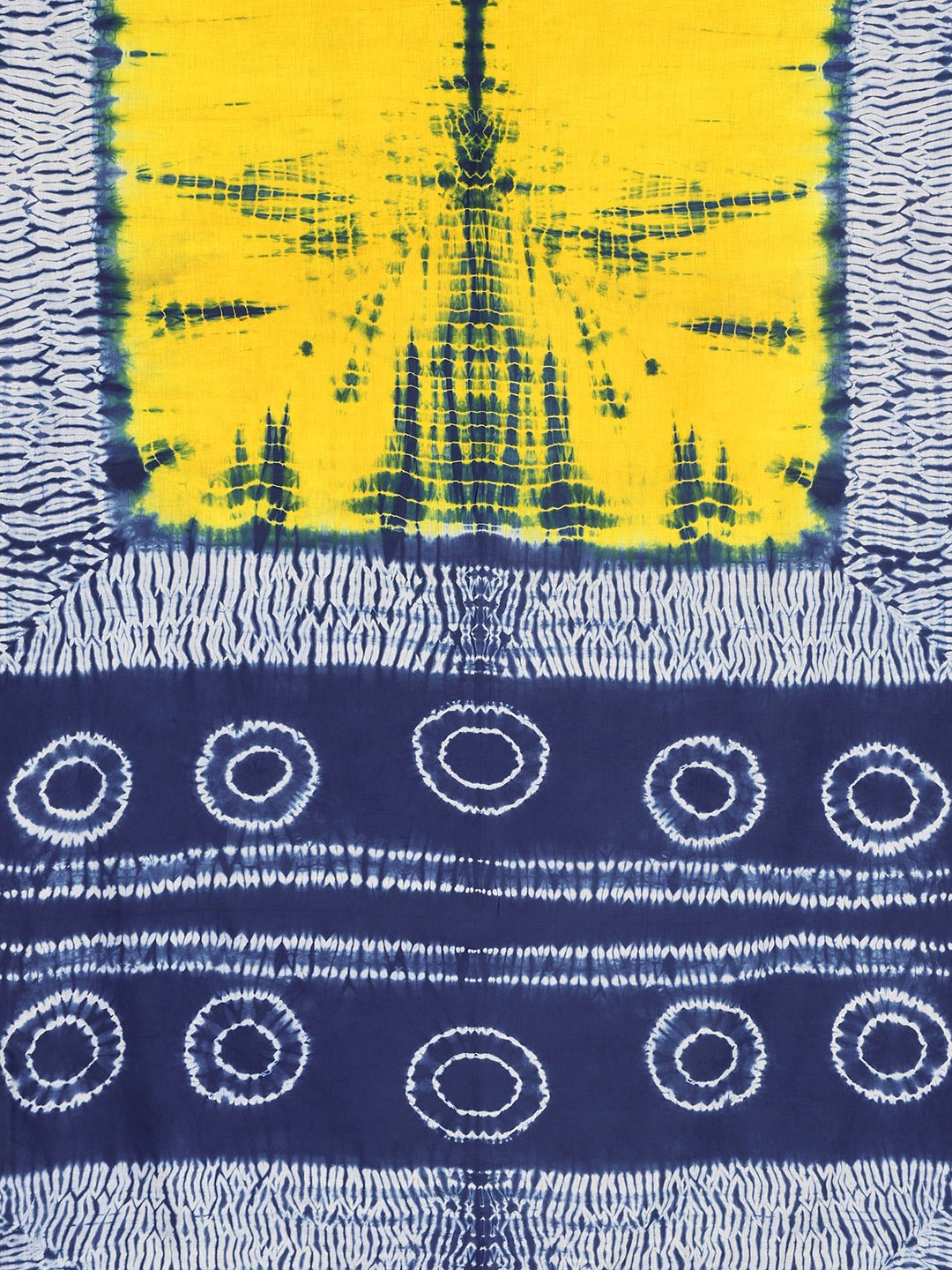 Yellow & Navy Blue Shibori Tie & Dyed Handcrafted Cotton Saree-Saree-Kalakari India-BHKPSA0034-Cotton, Geographical Indication, Hand Blocks, Hand Crafted, Heritage Prints, Sarees, Shibori, Sustainable Fabrics-[Linen,Ethnic,wear,Fashionista,Handloom,Handicraft,Indigo,blockprint,block,print,Cotton,Chanderi,Blue, latest,classy,party,bollywood,trendy,summer,style,traditional,formal,elegant,unique,style,hand,block,print, dabu,booti,gift,present,glamorous,affordable,collectible,Sari,Saree,printed, hol