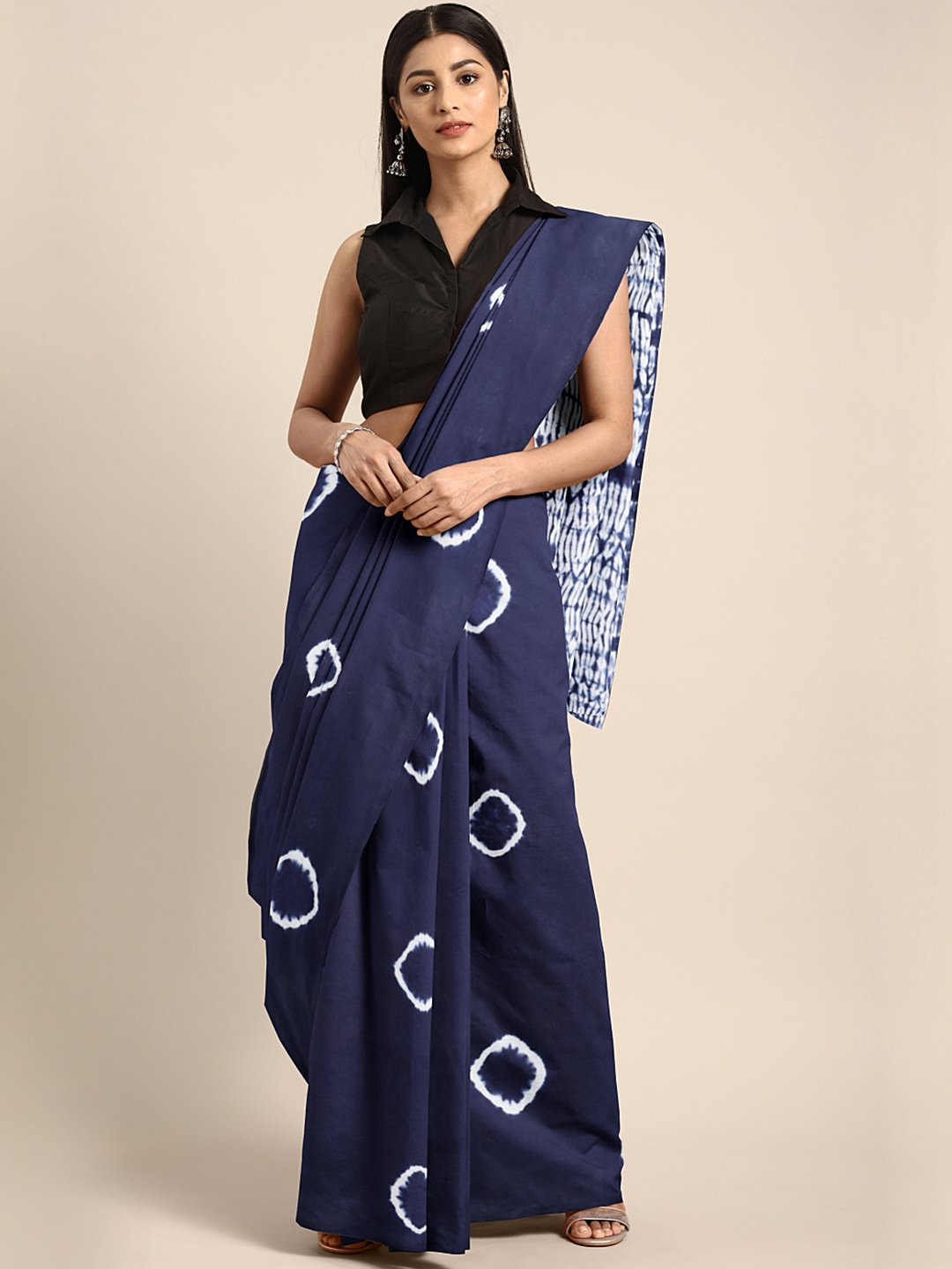 Indigo Dyed Saree Shibori Tie & Dyed Handcrafted Cotton Saree-Saree-Kalakari India-BHKPSA0039-Cotton, Geographical Indication, Hand Blocks, Hand Crafted, Heritage Prints, Sarees, Shibori, Sustainable Fabrics-[Linen,Ethnic,wear,Fashionista,Handloom,Handicraft,Indigo,blockprint,block,print,Cotton,Chanderi,Blue, latest,classy,party,bollywood,trendy,summer,style,traditional,formal,elegant,unique,style,hand,block,print, dabu,booti,gift,present,glamorous,affordable,collectible,Sari,Saree,printed, holi