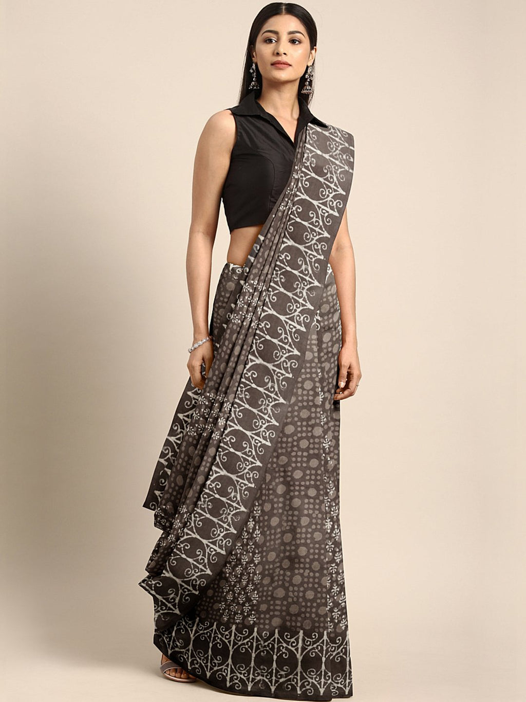 Charcoal Grey Mud Resist Handblock Print Handcrafted Cotton Saree-Saree-Kalakari India-BHKPSA0040-Cotton, Dabu, Geographical Indication, Hand Blocks, Hand Crafted, Heritage Prints, Indigo, Natural Dyes, Sarees, Sustainable Fabrics-[Linen,Ethnic,wear,Fashionista,Handloom,Handicraft,Indigo,blockprint,block,print,Cotton,Chanderi,Blue, latest,classy,party,bollywood,trendy,summer,style,traditional,formal,elegant,unique,style,hand,block,print, dabu,booti,gift,present,glamorous,affordable,collectible,S