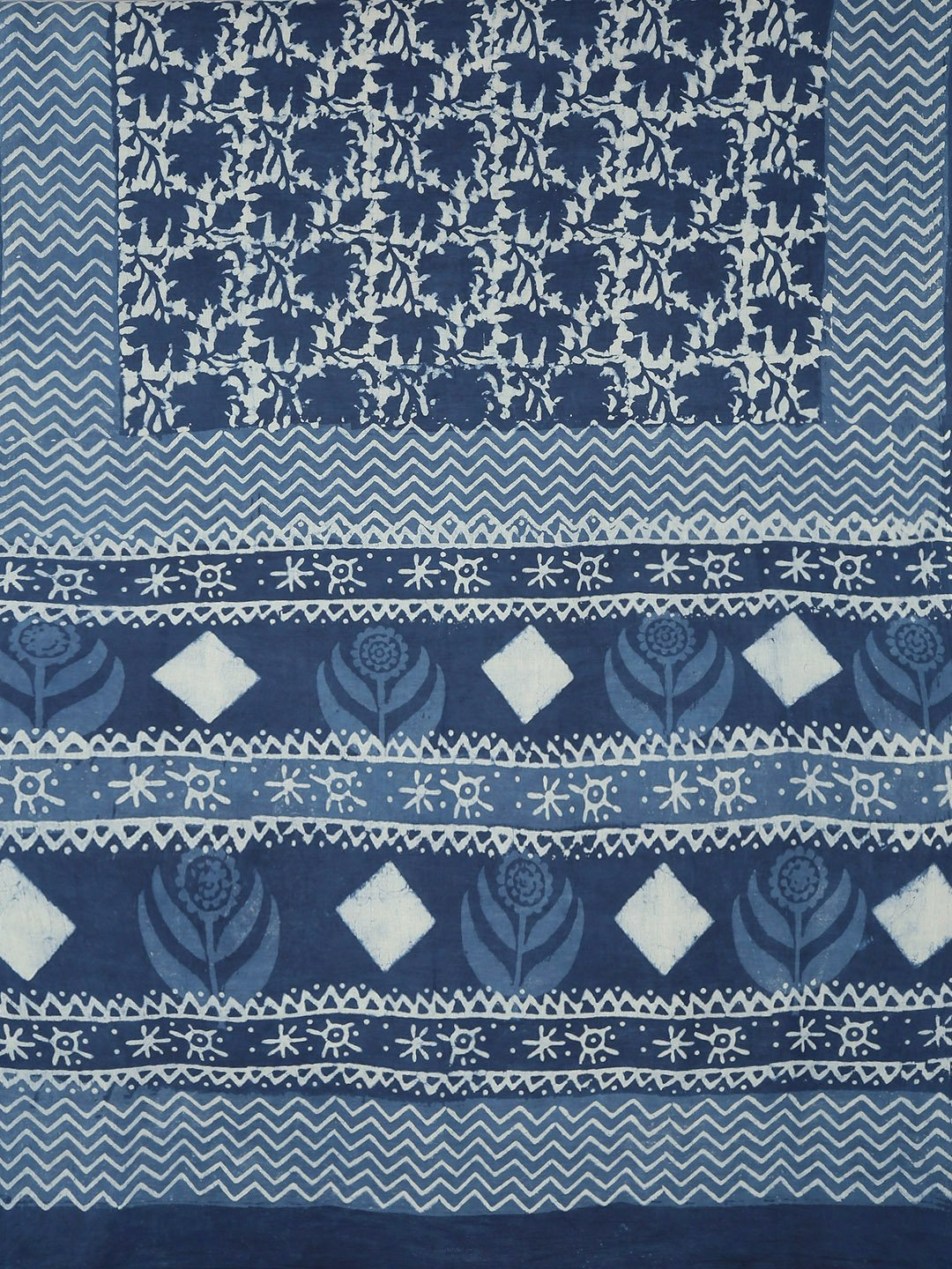 Navy Blue & White Mud Resist Handblock Print Handcrafted Cotton Saree-Saree-Kalakari India-BHKPSA0041-Cotton, Dabu, Geographical Indication, Hand Blocks, Hand Crafted, Heritage Prints, Indigo, Natural Dyes, Sarees, Sustainable Fabrics-[Linen,Ethnic,wear,Fashionista,Handloom,Handicraft,Indigo,blockprint,block,print,Cotton,Chanderi,Blue, latest,classy,party,bollywood,trendy,summer,style,traditional,formal,elegant,unique,style,hand,block,print, dabu,booti,gift,present,glamorous,affordable,collectib