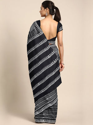 Black & White Striped Hand Block Print Handcrafted Cotton Saree-Saree-Kalakari India-BHKPSA0042-Cotton, Dabu, Geographical Indication, Hand Blocks, Hand Crafted, Heritage Prints, Indigo, Natural Dyes, Sarees, Sustainable Fabrics-[Linen,Ethnic,wear,Fashionista,Handloom,Handicraft,Indigo,blockprint,block,print,Cotton,Chanderi,Blue, latest,classy,party,bollywood,trendy,summer,style,traditional,formal,elegant,unique,style,hand,block,print, dabu,booti,gift,present,glamorous,affordable,collectible,Sar