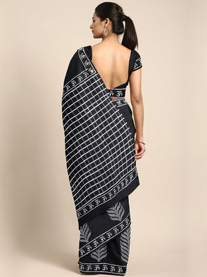Black & White Block Print Handcrafted Cotton Saree-Saree-Kalakari India-BHKPSA0043-Cotton, Dabu, Geographical Indication, Hand Blocks, Hand Crafted, Heritage Prints, Indigo, Natural Dyes, Sarees, Sustainable Fabrics-[Linen,Ethnic,wear,Fashionista,Handloom,Handicraft,Indigo,blockprint,block,print,Cotton,Chanderi,Blue, latest,classy,party,bollywood,trendy,summer,style,traditional,formal,elegant,unique,style,hand,block,print, dabu,booti,gift,present,glamorous,affordable,collectible,Sari,Saree,print