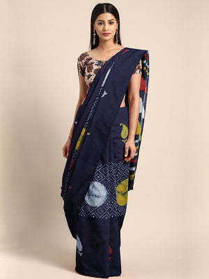 Navy Blue Mud Resist Handblock Print Chanderi Cotton Sare-Saree-Kalakari India-BHKPSA0047-Cotton, Dabu, Geographical Indication, Hand Blocks, Hand Crafted, Heritage Prints, Indigo, Natural Dyes, Sarees, Sustainable Fabrics-[Linen,Ethnic,wear,Fashionista,Handloom,Handicraft,Indigo,blockprint,block,print,Cotton,Chanderi,Blue, latest,classy,party,bollywood,trendy,summer,style,traditional,formal,elegant,unique,style,hand,block,print, dabu,booti,gift,present,glamorous,affordable,collectible,Sari,Sare