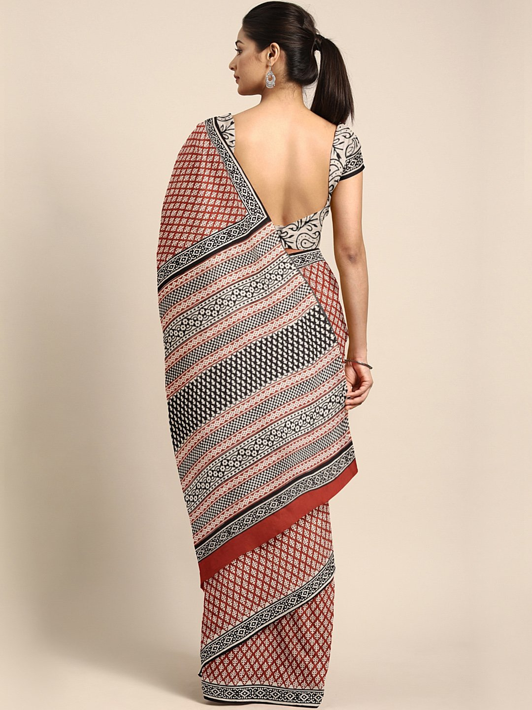Rust Red & Beige Mud Resist Handblock Print Handcrafted Cotton Saree-Saree-Kalakari India-BHKPSA0051-Cotton, Dabu, Geographical Indication, Hand Blocks, Hand Crafted, Heritage Prints, Indigo, Natural Dyes, Sarees, Sustainable Fabrics-[Linen,Ethnic,wear,Fashionista,Handloom,Handicraft,Indigo,blockprint,block,print,Cotton,Chanderi,Blue, latest,classy,party,bollywood,trendy,summer,style,traditional,formal,elegant,unique,style,hand,block,print, dabu,booti,gift,present,glamorous,affordable,collectibl