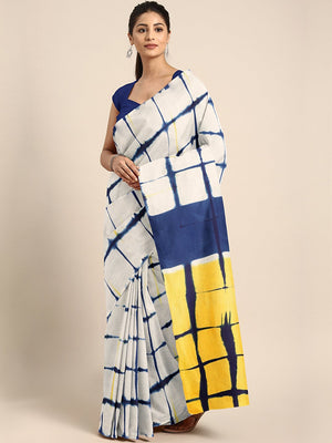 White & Navy Blue Tie & Dyed Handcrafted Cotton Saree-Saree-Kalakari India-BHKPSA0053-Cotton, Dabu, Geographical Indication, Hand Blocks, Hand Crafted, Heritage Prints, Indigo, Natural Dyes, Sarees, Sustainable Fabrics-[Linen,Ethnic,wear,Fashionista,Handloom,Handicraft,Indigo,blockprint,block,print,Cotton,Chanderi,Blue, latest,classy,party,bollywood,trendy,summer,style,traditional,formal,elegant,unique,style,hand,block,print, dabu,booti,gift,present,glamorous,affordable,collectible,Sari,Saree,pr