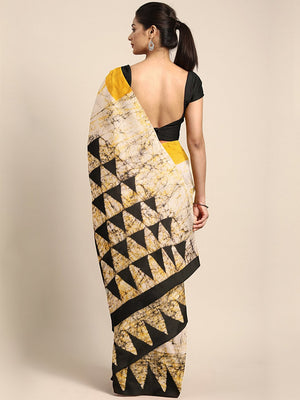 Beige & Mustard Yellow Tie & Dyed Handcrafted Batik Cotton Saree-Saree-Kalakari India-BHKPSA0055-Batik, Cotton, Geographical Indication, Hand Blocks, Hand Crafted, Heritage Prints, Sarees, Sustainable Fabrics-[Linen,Ethnic,wear,Fashionista,Handloom,Handicraft,Indigo,blockprint,block,print,Cotton,Chanderi,Blue, latest,classy,party,bollywood,trendy,summer,style,traditional,formal,elegant,unique,style,hand,block,print, dabu,booti,gift,present,glamorous,affordable,collectible,Sari,Saree,printed, hol