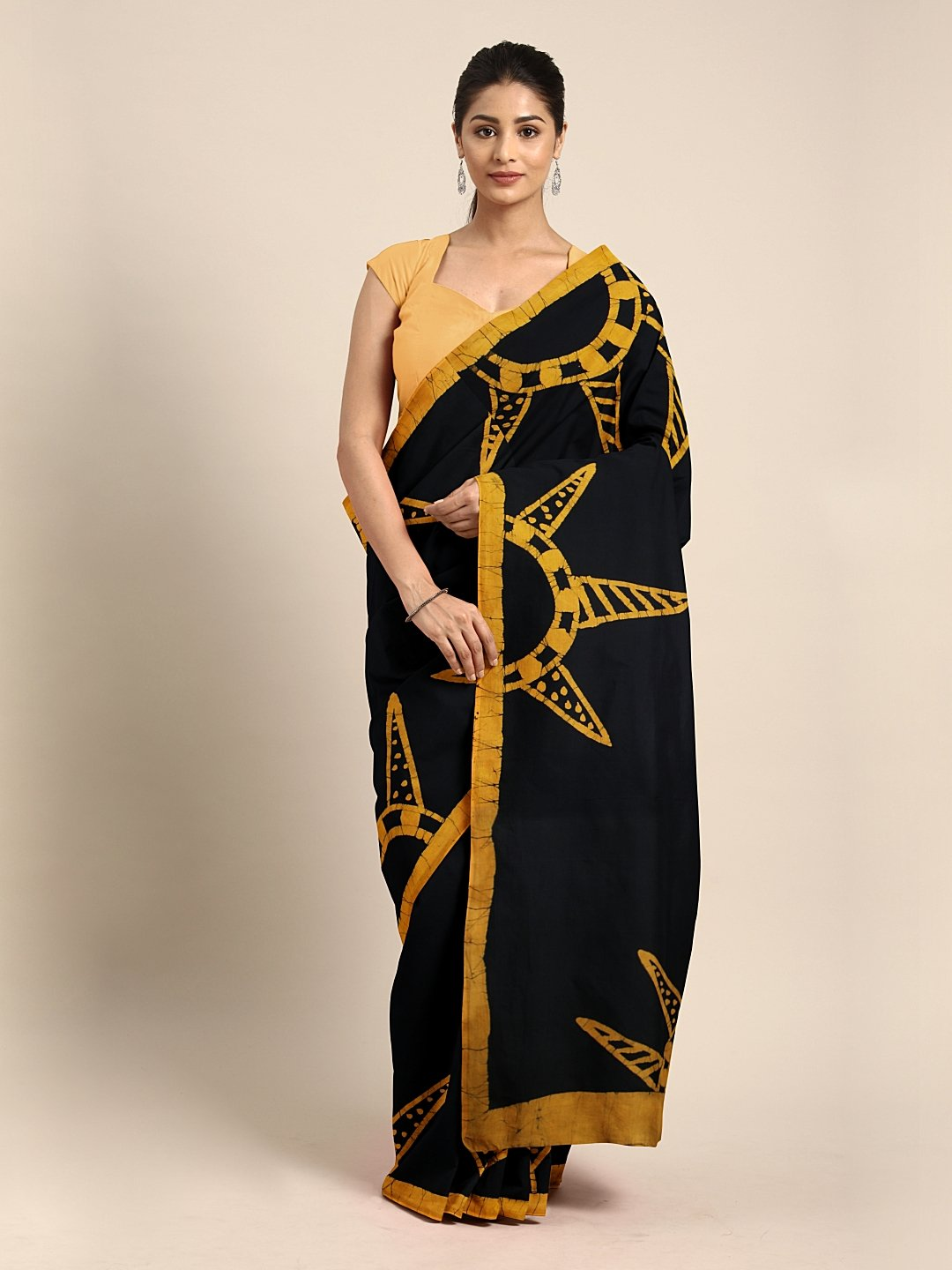 Mustard Yellow & Black Handblock Print Batik Handcrafted Cotton Saree-Saree-Kalakari India-BHKPSA0056-Batik, Cotton, Geographical Indication, Hand Blocks, Hand Crafted, Heritage Prints, Sarees, Sustainable Fabrics-[Linen,Ethnic,wear,Fashionista,Handloom,Handicraft,Indigo,blockprint,block,print,Cotton,Chanderi,Blue, latest,classy,party,bollywood,trendy,summer,style,traditional,formal,elegant,unique,style,hand,block,print, dabu,booti,gift,present,glamorous,affordable,collectible,Sari,Saree,printed